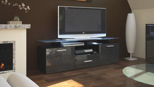 Façades en coloris divers Armoire basse Meuble TV Almada en Noir