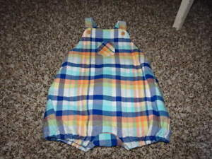 Janie and Jack BABY SAFARI Plaid Short Romper Overalls NWT Boys 3-6 Summer