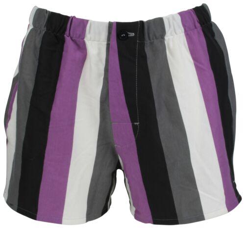 Ex Store Ladies Bold Stripe Lounge Wear Pyjama Shorts Purple