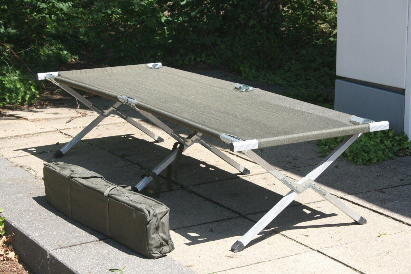 US FELDBETT KLAPPBAR ALUMINIUM BW KLAPPBETT 120kg ARMY CAMPINGLIEGE OUTDOOR OLIV