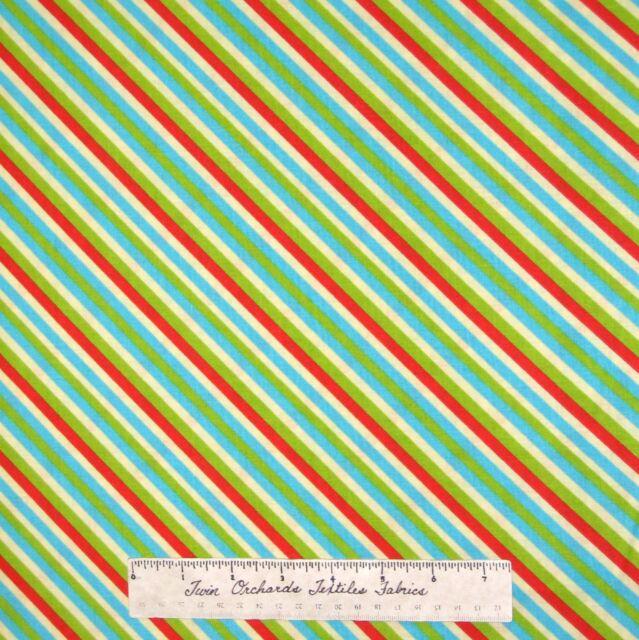 Christmas Fabric - Happy Holidays Red Green Blue Cream Stripe - AE Nathan YARD