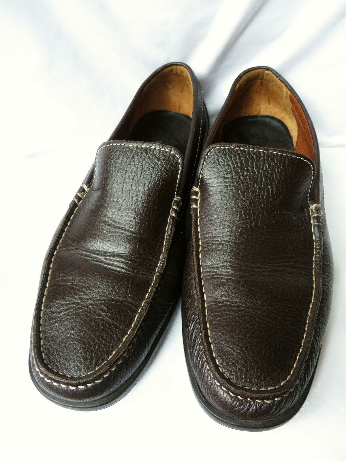 A A A TESTONI  Mens Dark Brown Leather Slip Ons Moc Loafers shoes 9.5 10 41dff8
