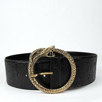 $795 Saint Laurent Nero Salmone Pelle Largo Cintura W/serpente Cerchio Fibbia Carino E Colorato