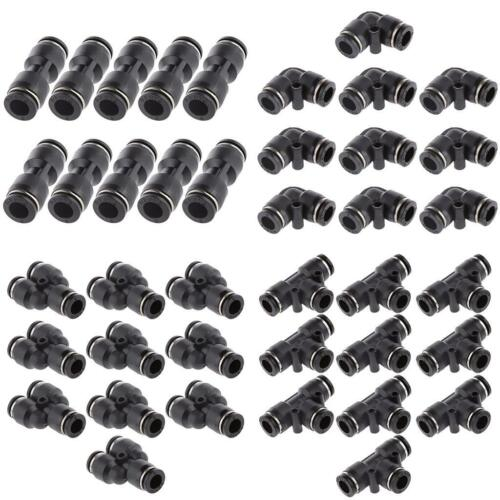 40pcs 8mm Straight Elbow Y Tee Air Line Quick Fittings Couplers Pipe Joint