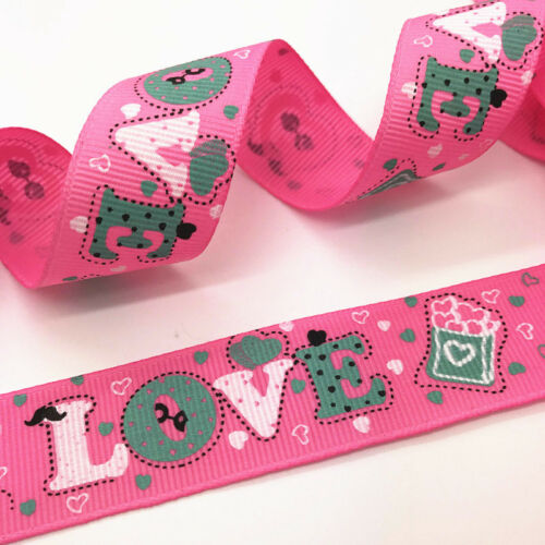 NEW 10yards 25mm print color patterns Grosgrain Bow Ribbon Sewing decoration #89