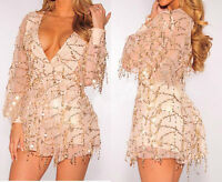 V Neck Gold Sequin Tassel Apricot Jumpsuit Catsuit Christmas Party Club Dress