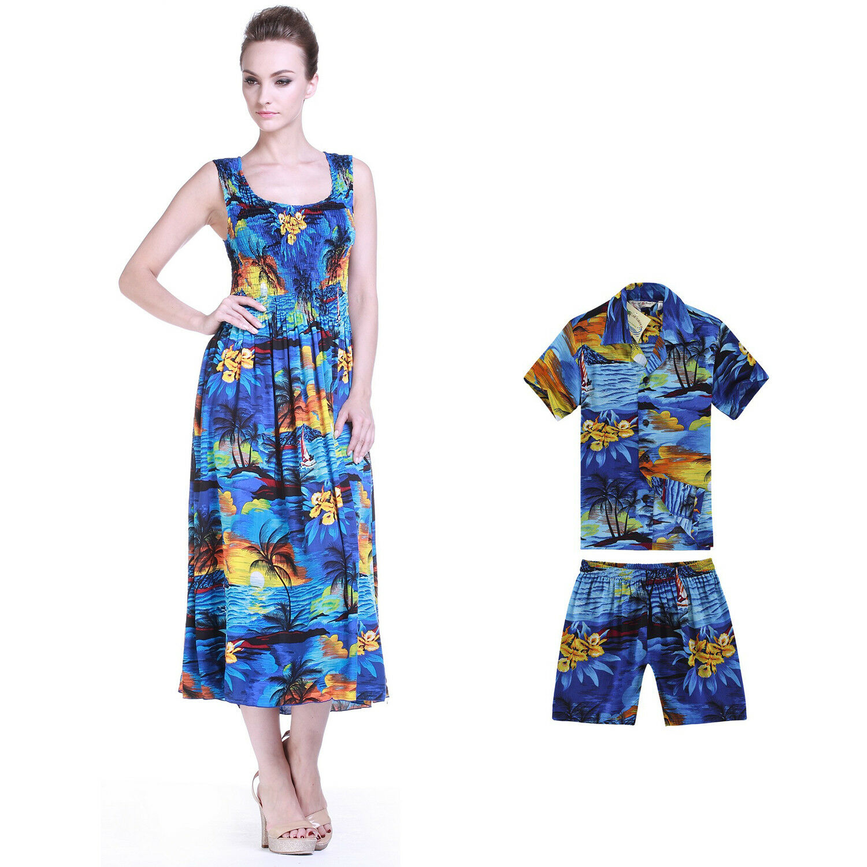 Mother Son Matching Hawaiian Luau Party Dance Dress Maxi Tank Shirt Sunset Blue