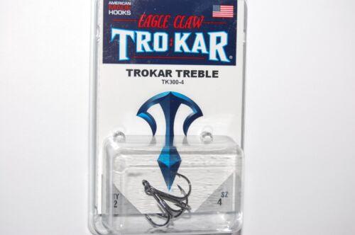 lazer tro kar trokar round treble hooks tk300-4  size 4   2 per pack crazy sharp