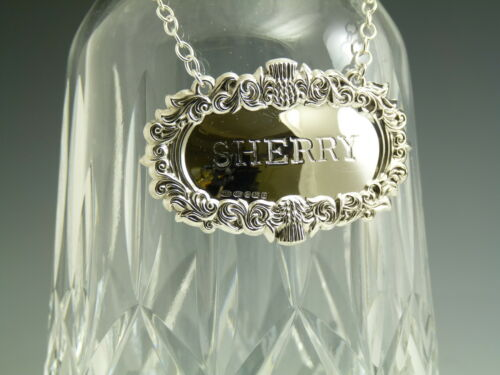 Sterling Silver NEW Boxed SHERRY Thistle DECANTER // Wine Label