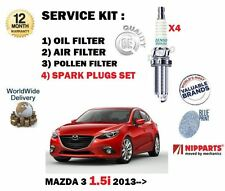 FOR MAZDA 3 BM 1.5 P5Y1 2013-> OIL AIR POLLEN 3 FILTER SERVICE KIT + SPARK PLUGS