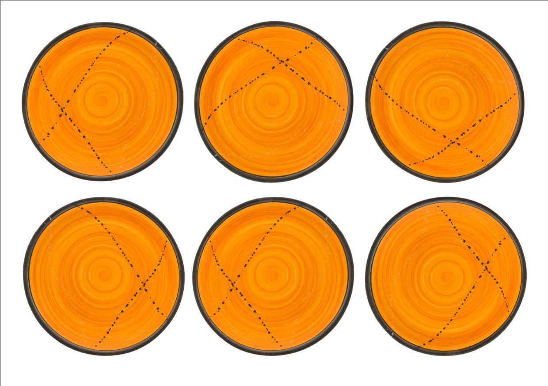 Dinner main assiette ou Plat Set de 6-fait main en céramique jaune - 10.6  - 27 cm