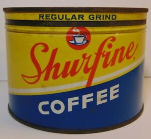 Vintage-1950s-SHURFINE-GRAPHIC-KEYWIND-COFFEE-TIN-ONE-POUND-NORTHLAKE-ILLINOIS