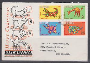 SUPERBE-FDC-1R-JOUR-AFRIQUE-BOSTWANA-dessin-elephant-crocodile-girafe-rhinoceros