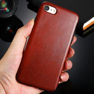 Cuir-PU-Protection-Dorsal-Coque-Etui-Smartphone-Apple-iPhone-7-Marron