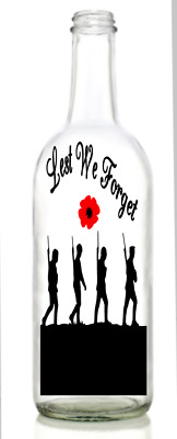 Vinyl Decal Sticker for Wine bottle Lest we forget sailor navy rememberance