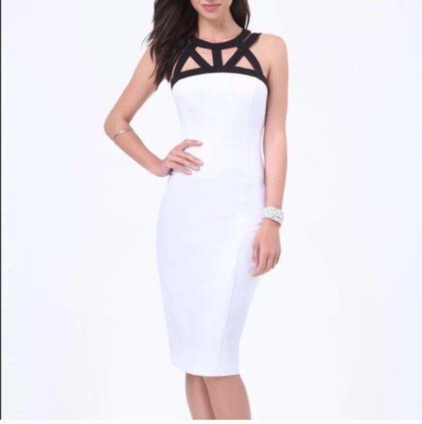 Bebe White Midi Dress Size Medium