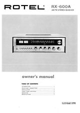 Rotel RX-600A Receiver Owners Instruction Manual