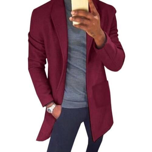 Mens Blazer Lapel Long Trench Coat Jacket Winter Work Outwear Buttons Overcoat