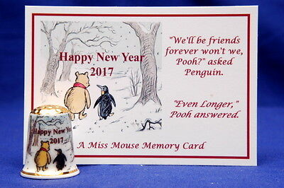 Happy New Year 2017 Winnie The Pooh Gold Top /& Memory Card China Thimble B//176