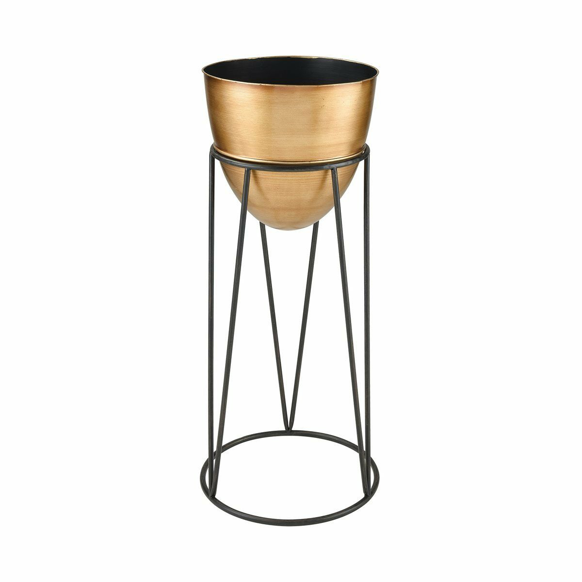 NEW LARGE  METAL TRANSITIONAL schwarz Gold BOWL PLANTER POT STAND Vase ART DECOR