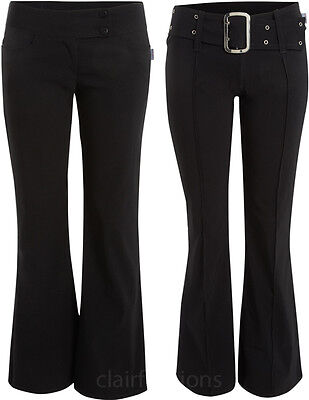 New Womens Plain Black Hipster Ladies Stretch Bootcut Trousers Pants 6-16
