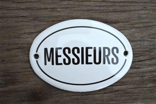 SMALL ANTIQUE STYLE ENAMEL METAL MESSIEURS SIGN DOOR PLAQUE MENS TOILET ROOM