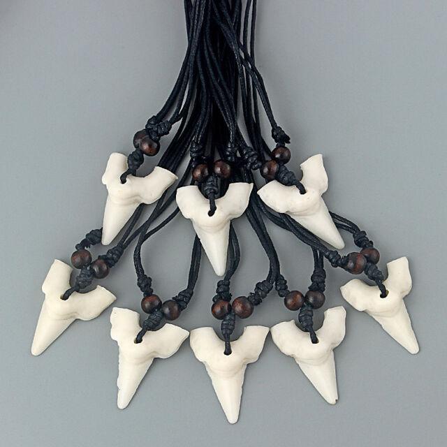 Wholesale 12pcs Imitation Wolf Tooth Teeth Pendant Necklace Adjustable