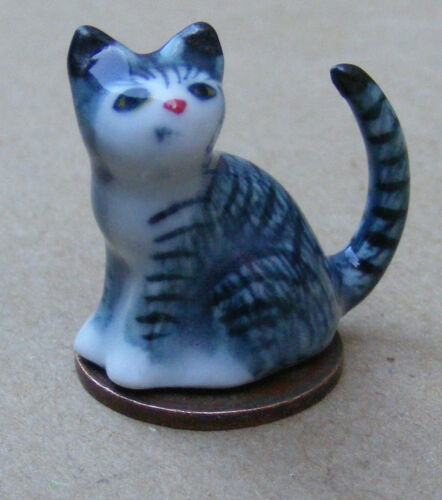 1:12 scala casa delle bambole scuro a righe in ceramica Gattino Gatto Animale Domestico Accessorio Ornamento ZM
