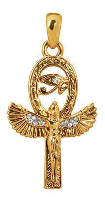 ELEGANT GOLDEN EGYPTIAN ISIS & ANKH PENDANT/NECKLACE PEWTER JEWELRY.ANCIENT EGYP