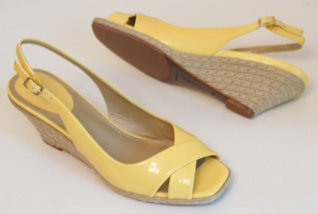 Cole Haan AIR ELLY Yellow Patent Wedge Sandals shoes Womens 10 NEW IN BOX