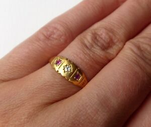 Antique-Victorian-18ct-Yellow-Gold-Diamond-amp-Ruby-Boat-Ring