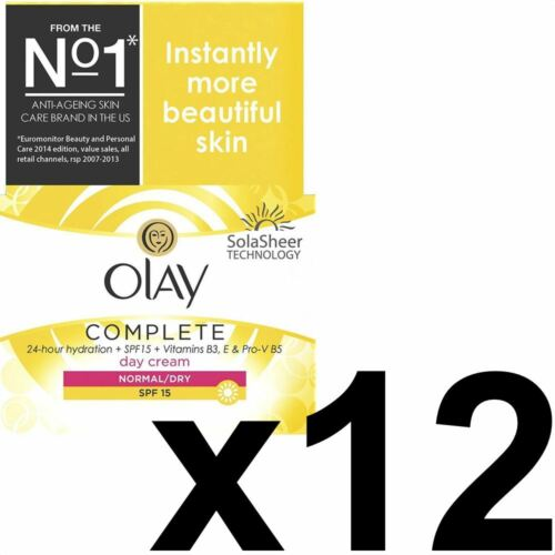 12 x Olay 3in1 Day Cream Normal Dry Moisturiser SPF15 Essentials Complete 50ml