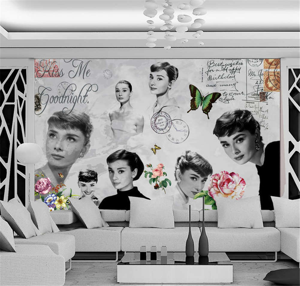 Unique Firm Audrey 3D Full Wall Mural Photo Wallpaper Printing Home Kids Decor