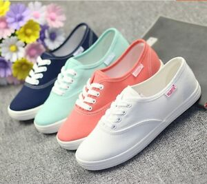 Fashion-Womens-Girls-Breathable-Canvas-Shoes-Sneakers-Lace-Up-loafers-Shoes