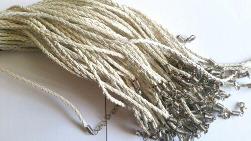 Lot 20 de Cordon en Cuir Blanc torsadé Neuf  50 cm avec chaînette