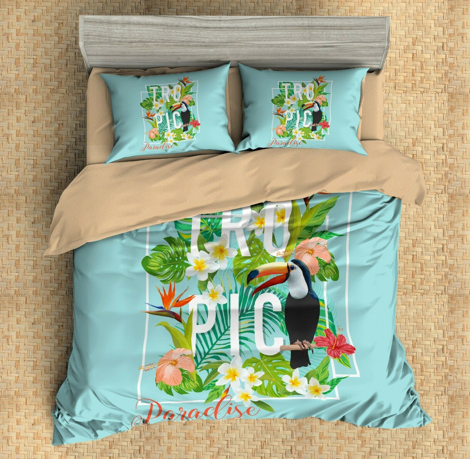3D Toucan,Tropical Plants Quilt Cover Set Bedding Duvet Cover Single Queen King8