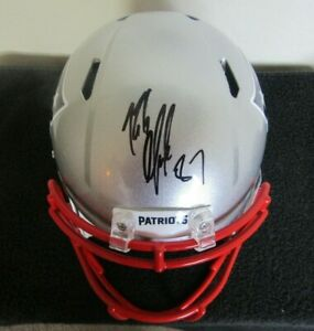 hot sale online 5729c 9fa28 Details about Rob Gronkowski autographed Signed Patriots Full Size Speed  Rep Helmet Beckett
