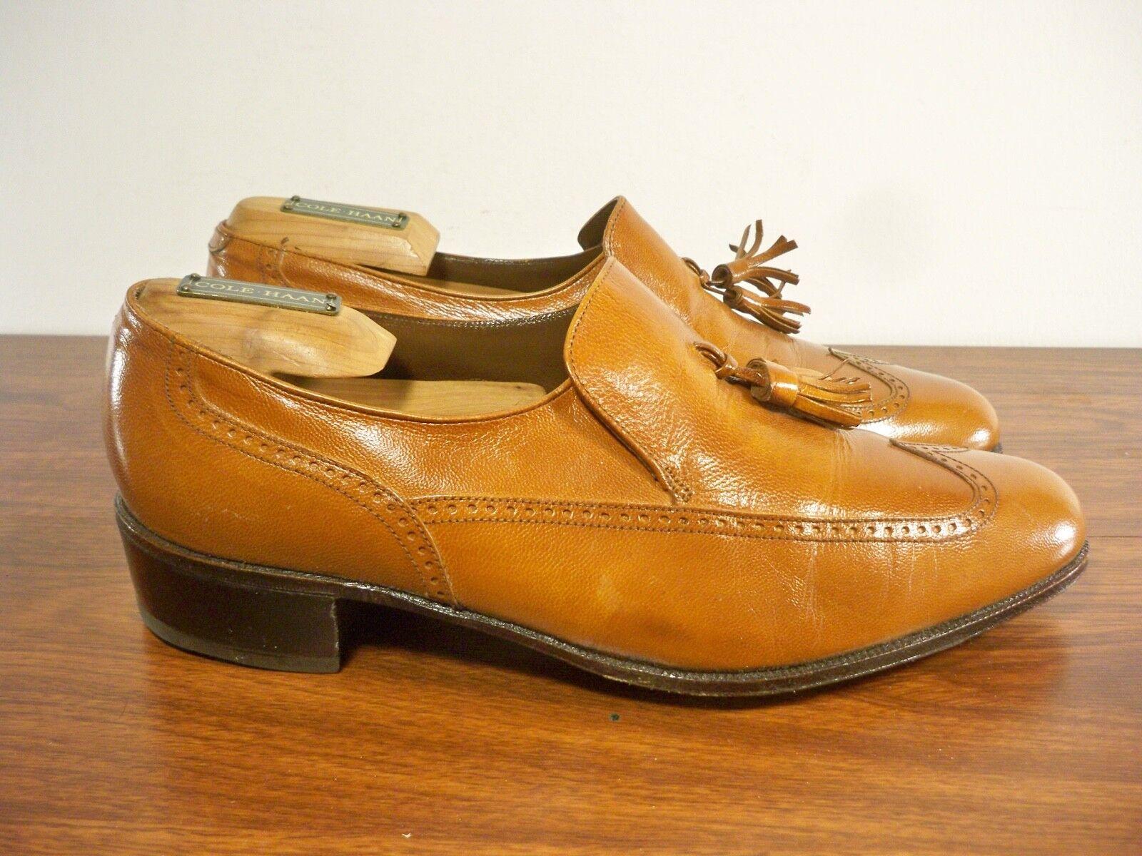 Vintage Florsheim TASSEL WINGTIPS Slip On Leather Loafers shoes Men's Size 7.5 D