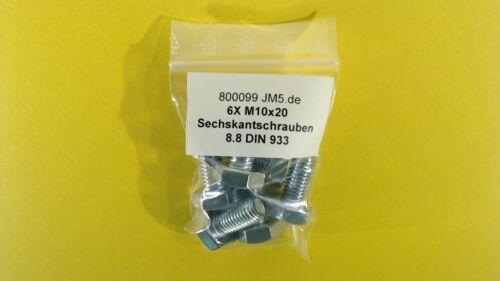 6X M10x20 Sechskantschrauben 8.8 mit Gewinde bis Kopf DIN 933 ISO 4017 galv.