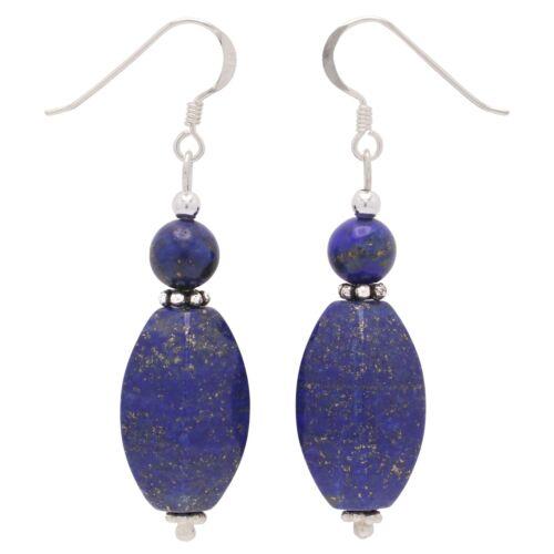 blau Ohrringe Ohrhänger aus echtem Lapis-Lazuli /& 925 Silber Ohrschmuck Damen