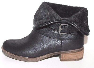 GH Bass NIB Women 6 M Arielle Black Ankle Boots w/ Fur Cuff & Buckle