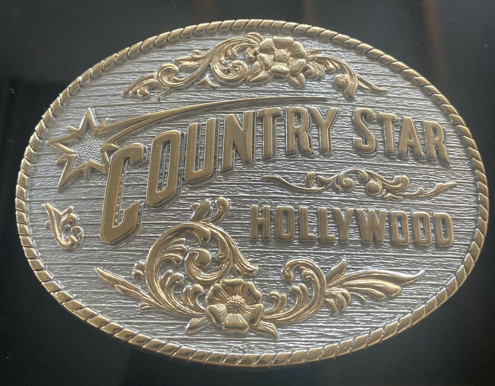 VIntage Riflefire Country Star Hollywood Brass Belt Buckle Award Design Medals