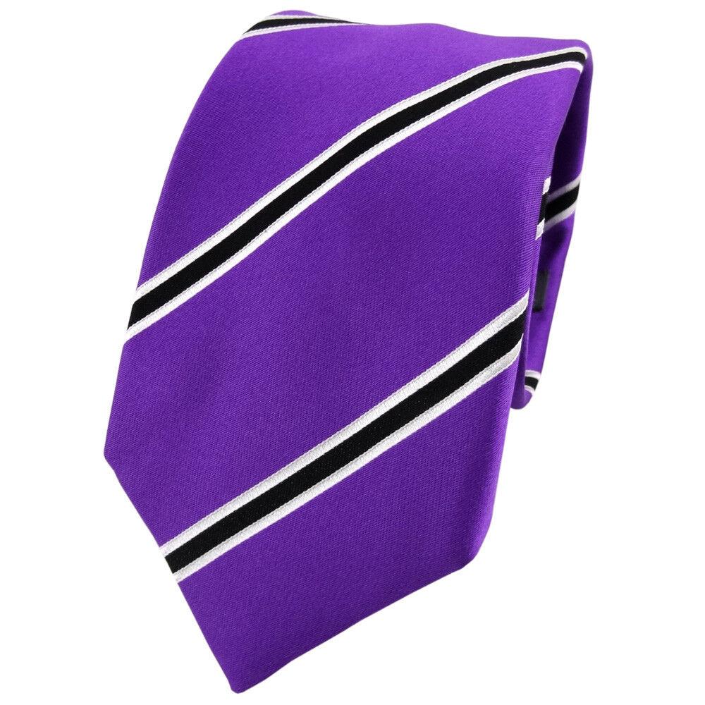 Enrico Sarto Seidenkrawatte lila violett schwarz weiß gestreift - Krawatte Seide