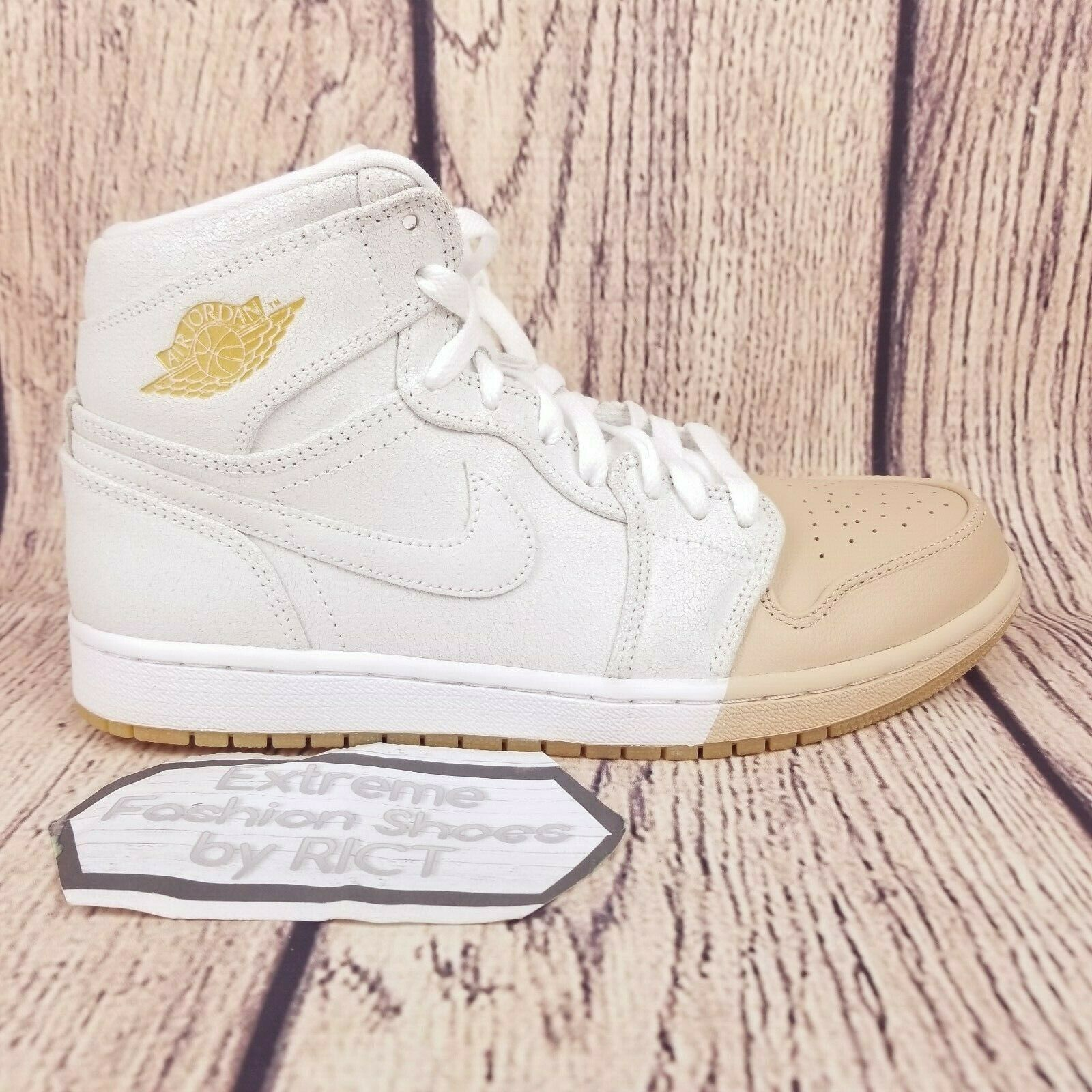 Womens Air Jordan 1 Retro Hi Premium shoes Size 9 White Metallic gold AH7389 107