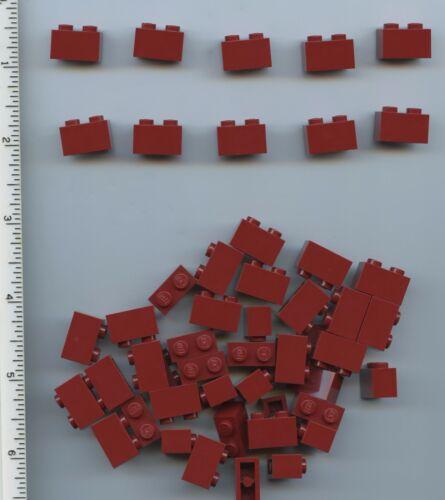 LEGO x 50 Dark Red 1 x 2 NEW 3004