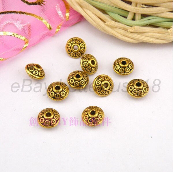 100Pcs Tibetan Silver, Gold, Bronze, Charms Spacer Bead 6X4MM (hole1.8-2MM) B784
