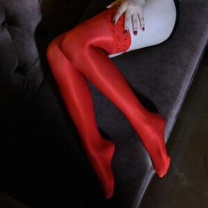 Damen Glänzend Halterlose Strümpfe Strapse Spitze Sheer Nylons Stockings Dessous