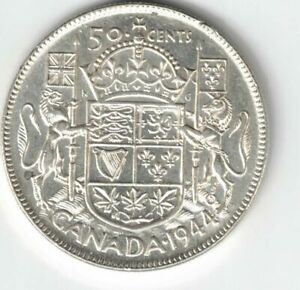 CANADA-1944-50-CENTS-HALF-DOLLAR-KING-GEORGE-VI-CANADIAN-800-SILVER-COIN