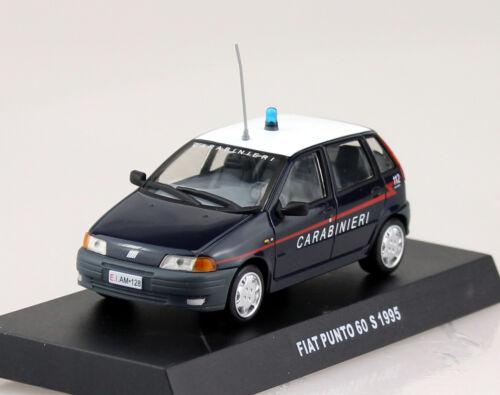 FIAT PUNTO 60s CARABINIERI POLIZIA 1995 Blu Scuro//Bianco 1:43 modello di auto