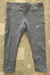 Nike Women's Power Epic Lux Running Tights Capris Gray Size XL Tight Fit 890323